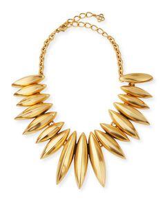 Golden Ridged Disc Necklace by Oscar de la Renta at Neiman Marcus.