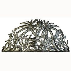 This intricate wall piece made from recycled oil drums in Croix des Bouquets, Haiti. The River Semi Circle design is handcrafted by Carlo Brutus, measuring 32 inches by 18 inches with a natural patina with high gloss finish. Suitable for indoor or outdoor hanging.