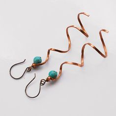 SALE Simple howlite earrings - copper hammered jewelry