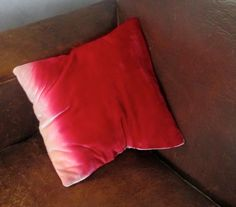 Pale pink scarlet ombre small 12 velvet pillow by Fiona Pitkin of Colorbloom, £35.00