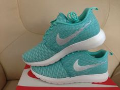 new styles d73d7 cf6d3 April 2018 Sping Summer Sale Women Nike Flyknit Roshe Run Flyknit Tiffany  Blue Metallic Silver White Sport Turquoise