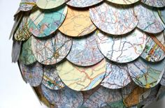 upcycled vintage maps become pendant lamp