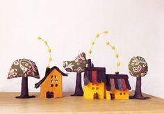 Yellow Cabins with trees. Miniature. by Intres on Etsy, $35.00