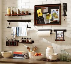 So much storage and organization going on in this kitchen wall system! Build Your Own - Daily System Components - Rustic Mahogany stain (affliliate link) Home Furnishing Stores, Home Furnishings, Wall Design, House Design, Mahogany Stain, Home Office Storage, Wall Organization, Wall Shelves, Display Shelves