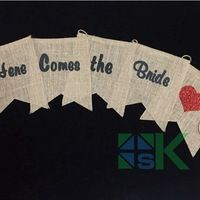 """Here comes the bride"" DIY Linen Flag Bunting Decor Vintage Party Banner Wedding Party Home Decor Event Supplies"