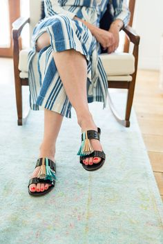 Make your own tassel sandals via this simple DIY on the blog