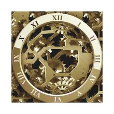 Golden Clocks and Gears Steampunk Mechanical Gifts Stretched Canvas Print. Wall art. Home decor, brass look, interior design, shiny, metallic, roman numerals, Gears and Cogs, Mechanical, Engineering, Metal, Industrial, Gift, machinery, shop, buy online, for sale, clockwork,