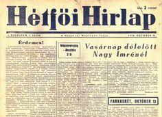 Hétfői Hírlap - 1956 október 15 Hungary, 1950s, History, October, Historia