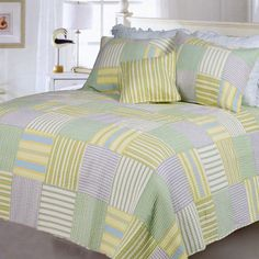 Alternating vertical and horizontal stripes in soft shades of blue, green yellow and white create a patchwork design on this Spa Stripes quilt set. Made of pre-washed and pre-shrunk cotton, this quilt set includes coordinating shams. Plaid Quilt, Striped Quilt, Quilt Sets Queen, Spa, Patchwork Designs, Cottage Chic, Bed Covers, Bed Spreads, Comforter Sets
