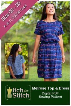 Démangeaisons au point melrose haut et robe de pdf couture patron Sewing Patterns Free, Free Sewing, Dress Patterns, Easy Dress Pattern, Clothes Patterns, Free Pattern, Sewing Hacks, Sewing Tutorials, Sewing Tips