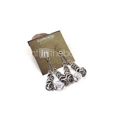 USD $ 1.58 - Texture Exaggerated Retro Silver Earrings*1pc