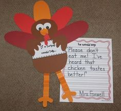 Could be hilarious! If a Turkey Could Talk. {A Thanksgiving Craftivity} First Grade in Foxwell Forest Thanksgiving Writing, Thanksgiving Projects, Thanksgiving Preschool, Thanksgiving Turkey, Thanksgiving Placemats, Thanksgiving Invitation, Thanksgiving Decorations, 1st Grade Writing, Art Classroom
