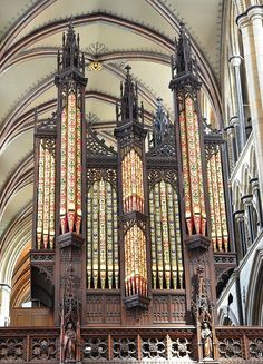 Huge pipe display in Beverley Minster, Church of Saint John and Saint Martin, in Beverley, England. Carved wood is stunning! Don't know if pipe coloration is original. Original organ of 1769 was restored and rebuilt in 1884 and 1962.