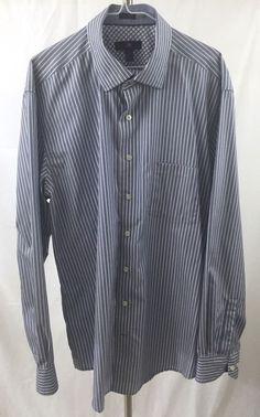 Men's Egara 2XLT Blue Stripe Long Sleeve Dress Shirt Pointed Collar Cotton  | eBay