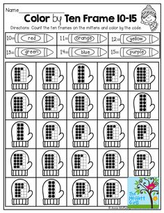Color by Ten Frame (10-15)! Use the color code to color the ten frame mittens! TONS of fun, engaging and hands-on resources!