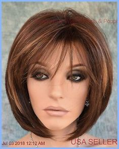 """""""cameron"""" rene of paris hi fashion wig coffee latte classy bob style Bob Hairstyles For Fine Hair, Haircuts With Bangs, Trending Hairstyles, Hairstyles Haircuts, Bob Haircuts, Medium Hairstyles, Popular Hairstyles, Pretty Hairstyles, Modern Bob Hairstyles"""