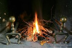 Fireplace is lit
