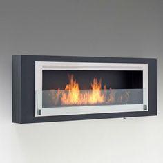 Santa Cruz Wallmount Bio-Ethanol Fireplace - Matte Black ECO-FEU WU-00087-BS