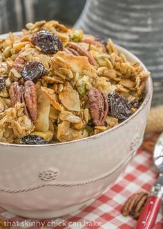 Maple Granola | An irresistible granola sweetened with maple syrup and full of nuts, seeds and dried cherries #ad