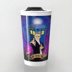12th Doctor with rainbow Ray ban glasses Travel mugs #travelmugs #tardis #doctorwho #painting #art #starrynight #12th #fullcolour #rainbow #glasses