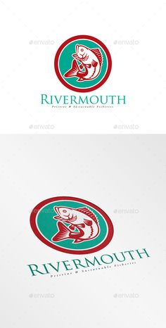 Rivermouth Sustainable Fisheries Logo — Vector EPS #retro #artwork • Available here → https://graphicriver.net/item/rivermouth-sustainable-fisheries-logo/10608085?ref=pxcr