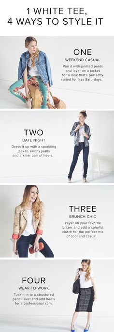 thredUP tells you how to style a basic white tee for any occasion!
