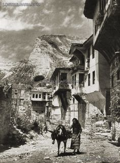 Melnik - typical old houses and Melnik Pyramids, 20-ies of XX century