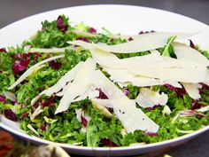 Winter Slaw Recipe : Brussel sprouts, Kale and Radicchio with a light lemon olive oil dressing and shaved Parmesan. yummm.