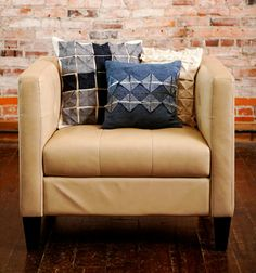 Origami Square pillows created using techniques from Indygo Junction's Dimensional Denim $19.99