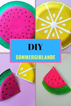 Make a garland for the summer party yourself-simple instructions- - Bastelideen und Rezepte für die Kita oder Grundschule - Tinkers out of simple paper plates that you can paint with cool acrylic garlands with fruit motifs - Summer Crafts, Crafts For Kids, Thrift Store Crafts, Simple Gifts, Craft Tutorials, Paper Plates, Valentine Day Gifts, Diy Gifts, Birthday Gifts