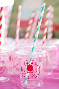 """The cutest little Elmo cups ever,"" Sarah says of the plastic cups from Signature Avenue. ""The kids loved these!"" Source: The Crafting Mama"