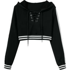 Striped Cropped Lace Up Hoodie (780 UYU) ❤ liked on Polyvore featuring tops, hoodies, shirts, jackets, sweatshirts, lace up front shirt, striped hoodie, crop top, hooded sweatshirt and cropped hooded sweatshirt