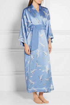 Olivia von Halle | Robe de chambre en satin de soie imprimée Queenie | NET-A-PORTER.COM