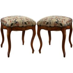 Pair of 19th Century French Louis XV Elm Stools with Needlepoint Tapestry | From a unique collection of antique and modern stools at https://www.1stdibs.com/furniture/seating/stools/