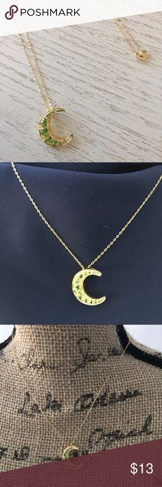 Peridot crescent moon 🌙 pendant Genuine peridot crescent 🌙 moon necklace Technibond from HSN Never worn Cats in home HSN Jewelry Necklaces