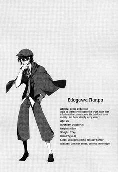 Bungou Stray Dogs 9 Edogawa Ranpo character profil