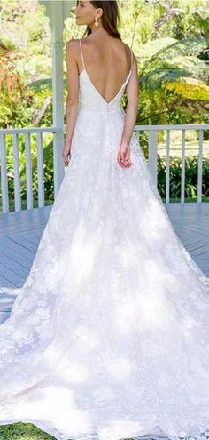 A-Line Spaghetti Straps Backless Long Lace Wedding Dresses Online, Luxury Wedding Dress, Wedding Dress Shopping, Wedding Party Dresses, Bridal Dresses, Lace Wedding, Unusual Dresses, Inexpensive Wedding Venues, Plus Size Wedding, Ladies Dress Design