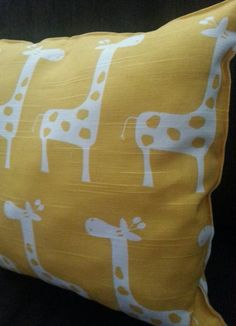 yellow giraffe nursery pillow by GeauxBaby on Etsy, $15.00