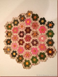 """Medallion quilt under construction. 3/8"""" hexagons. Made by a student in Bedford, PA July 2012"""