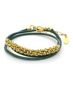 Loving this Emerald Double Lila Leather & Gold Bracelet on #zulily! #zulilyfinds