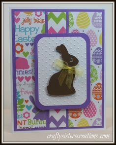 Adorable Bunny Easter card made with the Cricut! www.craftysisterscreations.com