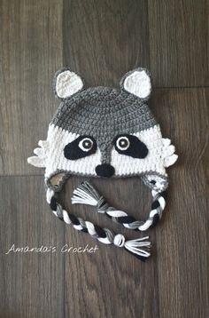 Crochet Raccoon Hat Toddler Raccoon Hat by AmandasCrochet23