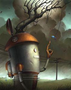 Simple Pleasures by Brian Despain Matt Dixon, Robot Painting, Gothic Fantasy Art, Steampunk, Arte Robot, Pop Surrealism, Retro Futurism, Simple Pleasures, Surreal Art