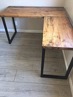 L Shaped Desk - Reclaimed Wood with Metal Base: Handmade Home Office Space, Home Office Design, Home Office Decor, Diy Home Decor, House Design, Diy Office Desk, Diy Computer Desk, Office Designs, Diy Desk