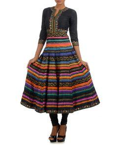 Black Multicolour Printed Anarkali #Psychedelic #Fashion #ManishArora #Sale #Discount #Love #Designer #Indian #Ethnic #Fusion #Digital #Printed