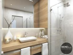 Jasna łazienka z dodatkami drewna - zdjęcie od MONOstudio - Łazienka - Styl Skandynawski - MONOstudio
