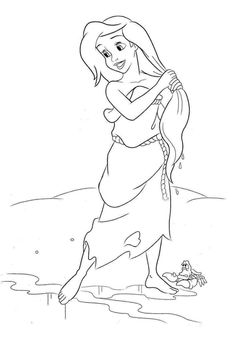 Ariel as a human for the first time with Sebastian by her side on the shore of the beach coloring page Beach Coloring Pages, Mermaid Coloring Pages, Horse Coloring Pages, Adult Coloring Book Pages, Coloring Pages For Girls, Disney Coloring Pages, Colouring Pages, Coloring Books, Mermaid Drawings
