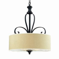 Z-Lite 22-1/8-in W Charleston Matte Black Pendant Light with Fabric Shade
