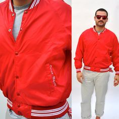 VTG 80s Mens Red Oscar Mayer Varsity Jacket by BluegrassVoodoo, $28.00