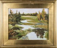Lynne Friedman (American, 20th Century)   Capo Auction   Lot 60   Heron Marsh. Oil on canvas. Signed (l.r.), titled (verso). Canvas size 11 x 14 inches. Framed.